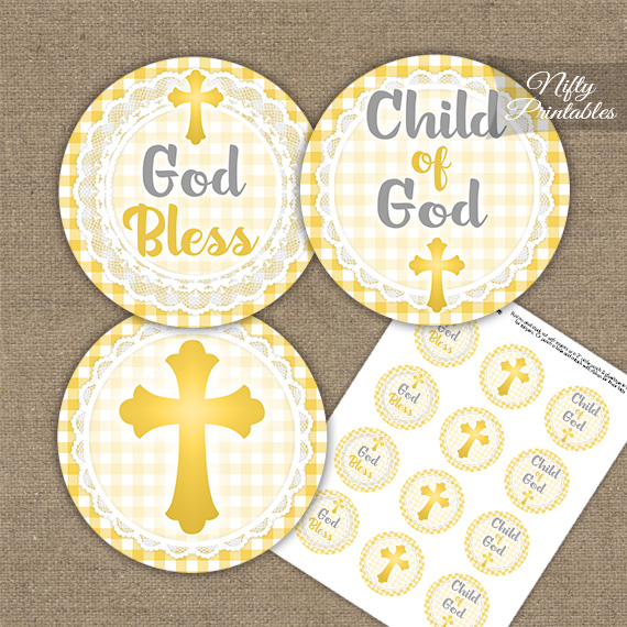Baptism Yellow Lace Cupcake Toppers