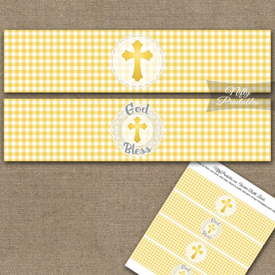 Baptism Yellow Lace Water Bottle Labels
