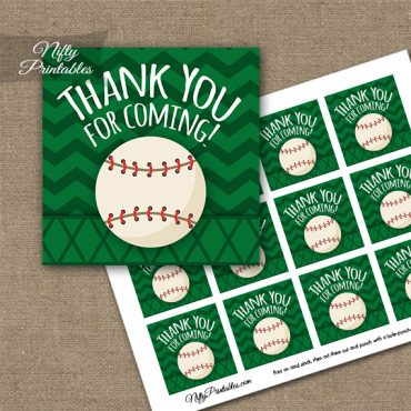 Baseball Birthday Thank You Favor Tags