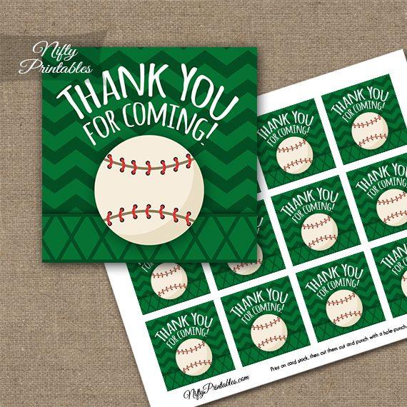 Baseball Birthday Thank You Favor Tags