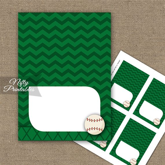 Baseball Birthday Folded Tent Place Cards