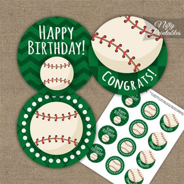 Baseball Birthday Cupcake Toppers