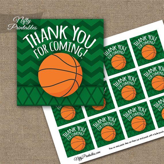 Basketball Birthday Thank You Favor Tags