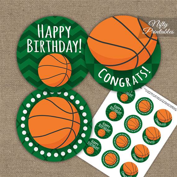 Basketball Birthday Cupcake Toppers