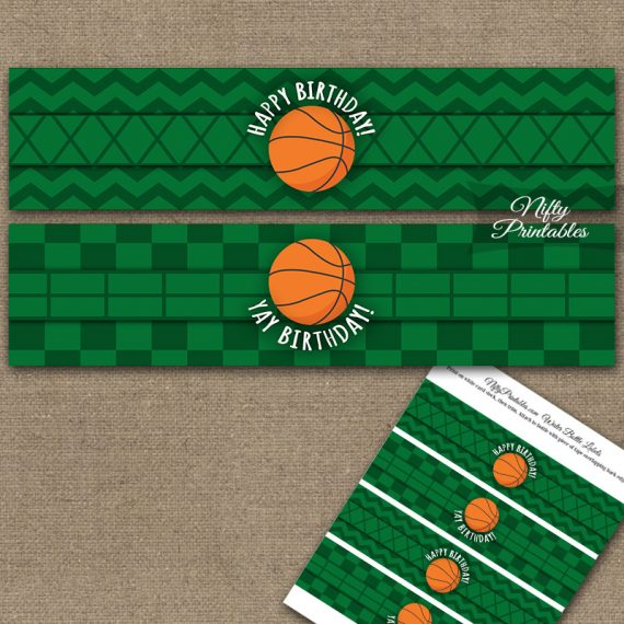 Basketball Birthday Water Bottle Labels
