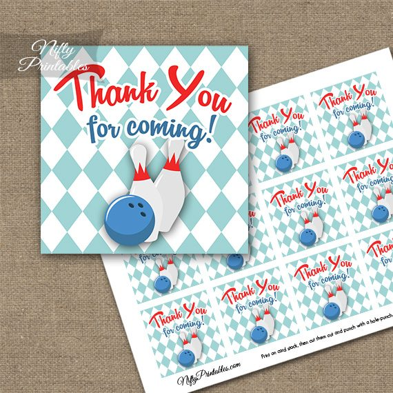 Bowling 50s Retro Thank You Favor Tags