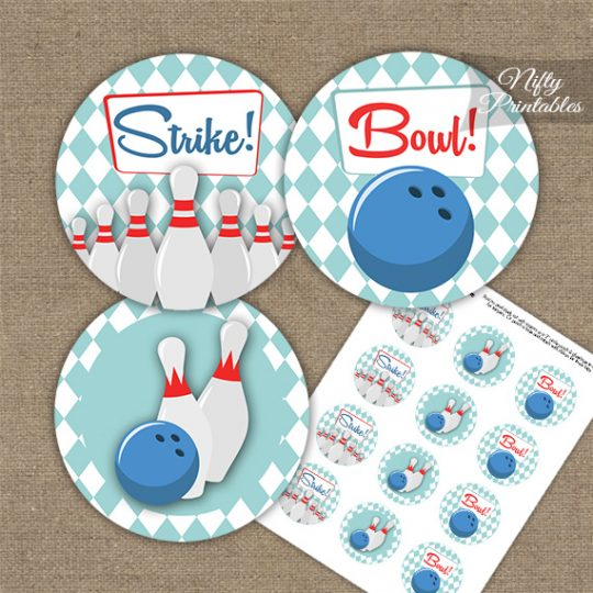 Bowling 50s Retro Cupcake Toppers