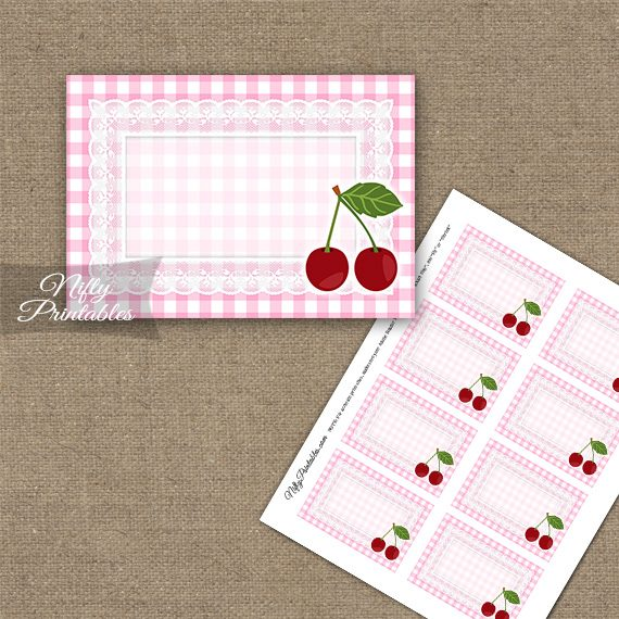 Cherries Pink Blank Labels