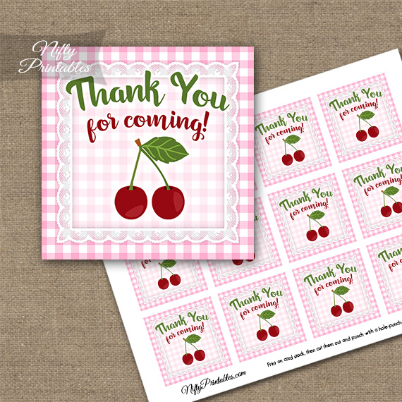 Cherries Pink Thank You Favor Tags