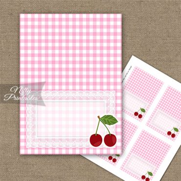 Cherries Pink Tent Cards - Place Cards