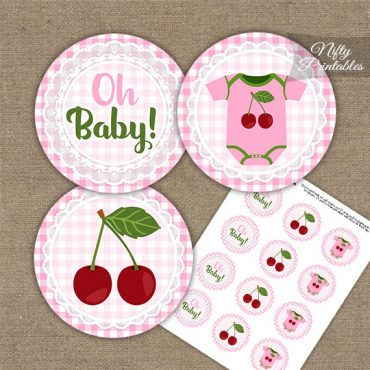 Cherries Pink Baby Shower Cupcake Toppers