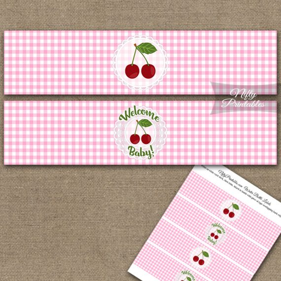 Cherries Pink Baby Shower Water Bottle Labels