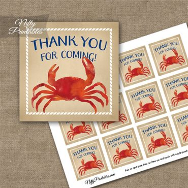 Crab Party Thank You Favor Tags