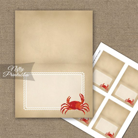 Crab Party Folded Tent Place Cards