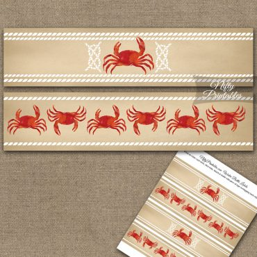 Crab Party Water Bottle Labels
