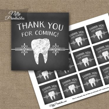 Dental Teeth Chalkboard Thank You Favor Tags