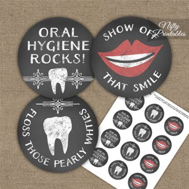 Dental Teeth Chalkboard Cupcake Toppers