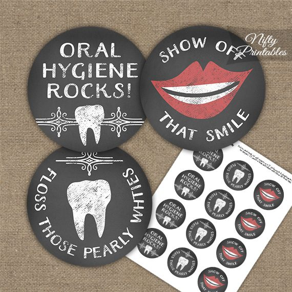 Dental Teeth Chalkboard Cupcake Toppers