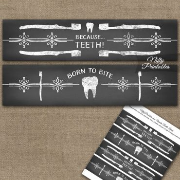 Dental Teeth Chalkboard Water Bottle Labels