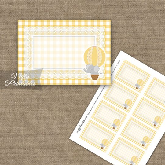 Elephant Yellow Gray Blank Labels