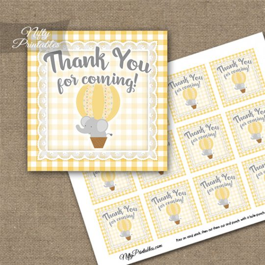 Elephant Yellow Gray Thank You Favor Tags