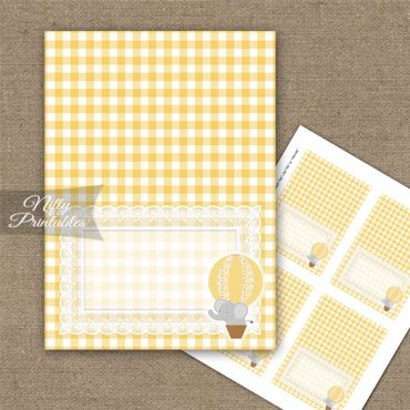 Elephant Yellow Gray Tent Cards - Place Cards