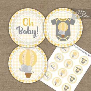 Elephant Yellow Gray Baby Shower Cupcake Toppers