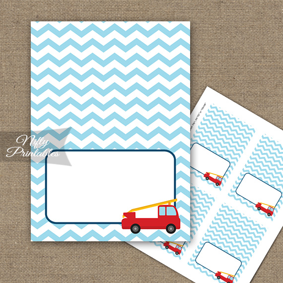 Fire Truck Tent Cards - Place Cards