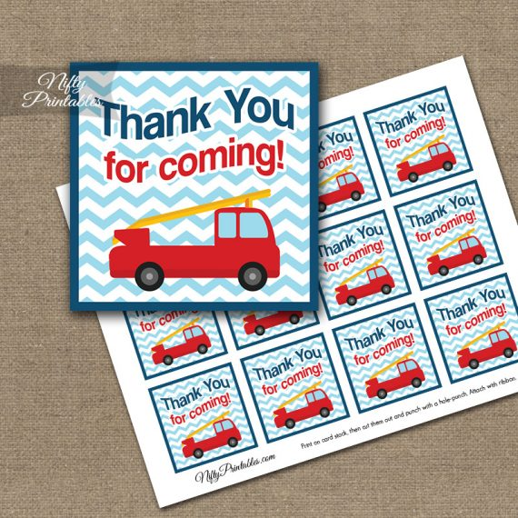 Fire Truck Birthday Thank You Favor Tags