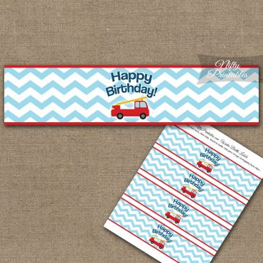 Water Bottle Labels - Fire Truck Birthday