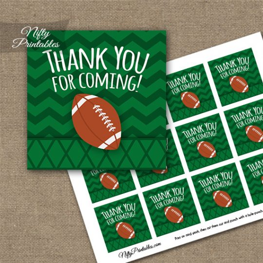 Football Thank You Favor Tags