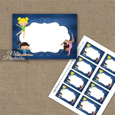 Gymnastics Blank Labels - Cute Blue