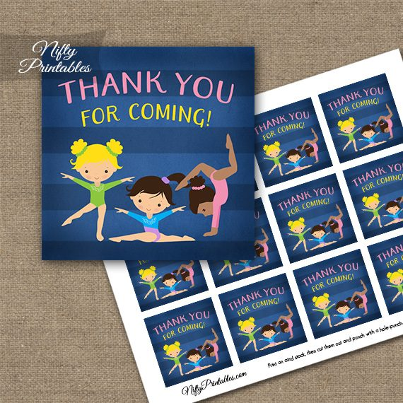 Gymnastics Thank You Favor Tags - Cute Blue