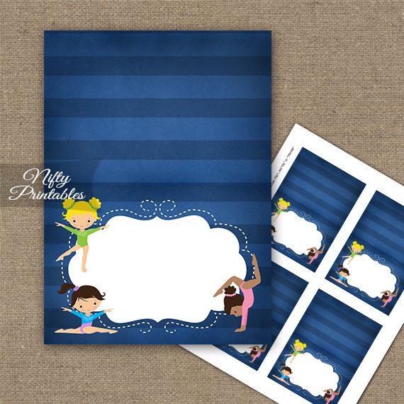 Gymnastics Tent Cards - Place Cards - Cute Blue