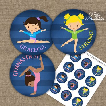 Gymnastics Cupcake Toppers - Cute Blue