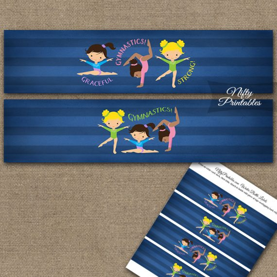 Gymnastics Water Bottle Labels - Cute Blue
