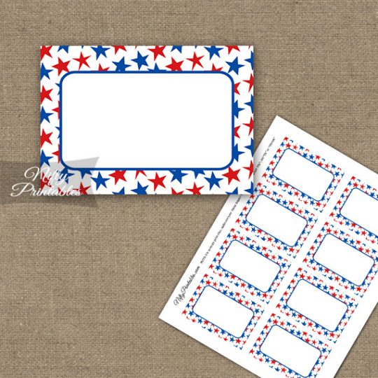 July 4th Stars Blank Labels