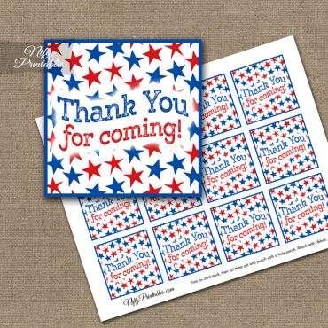 July 4th Stars Thank You Favor Tags