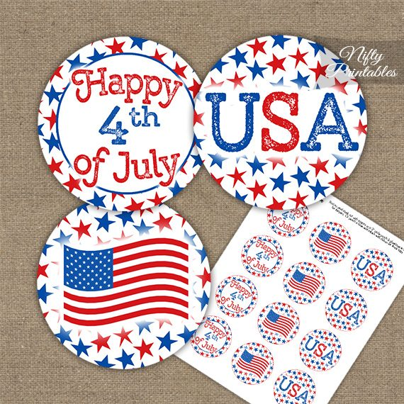 July 4th Stars Cupcake Toppers