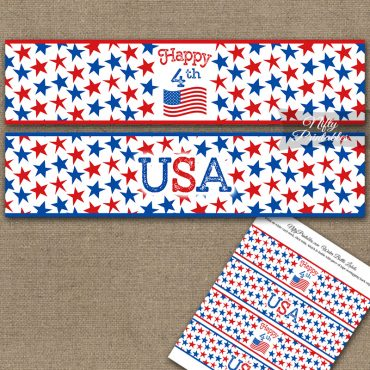 July 4th Stars Water Bottle Labels