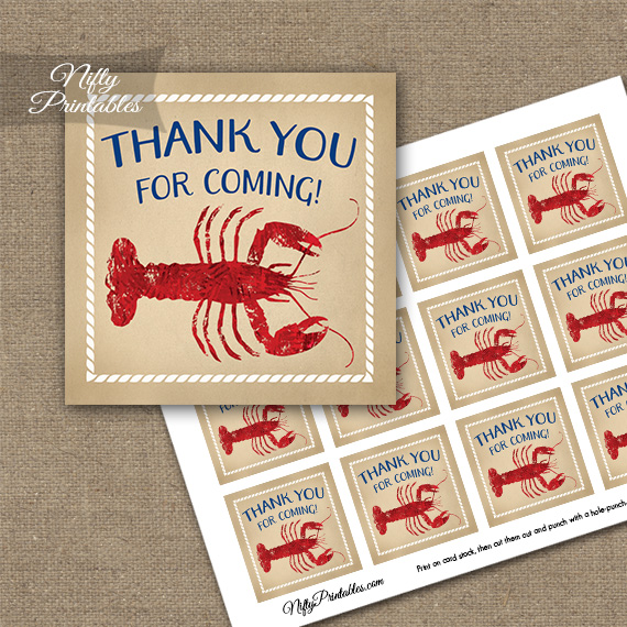 Lobster Party Thank You Favor Tags