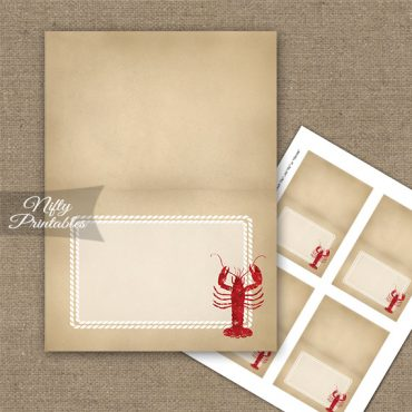 Lobster Party Folded Tent Place Cards