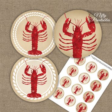 Lobster Party Cupcake Toppers
