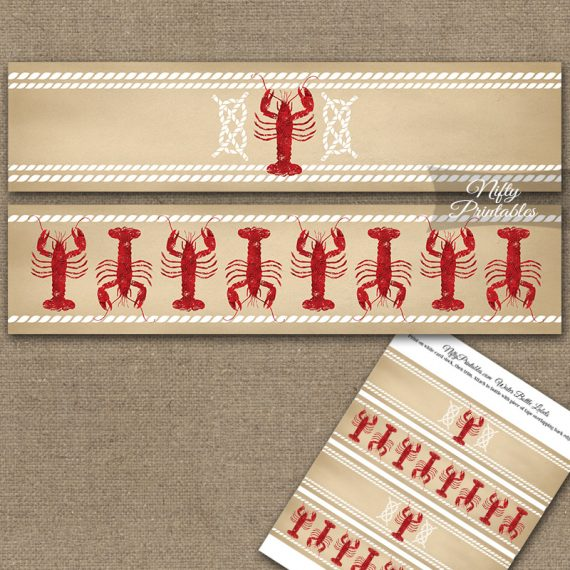 Lobster Party Water Bottle Labels