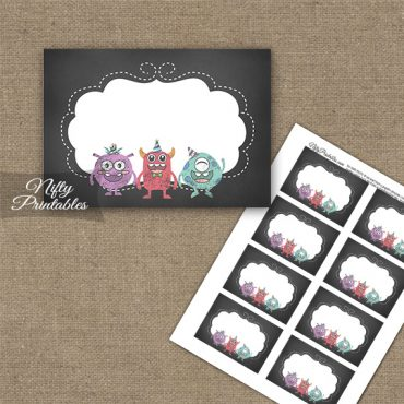 Monsters Chalkboard Birthday Blank Labels