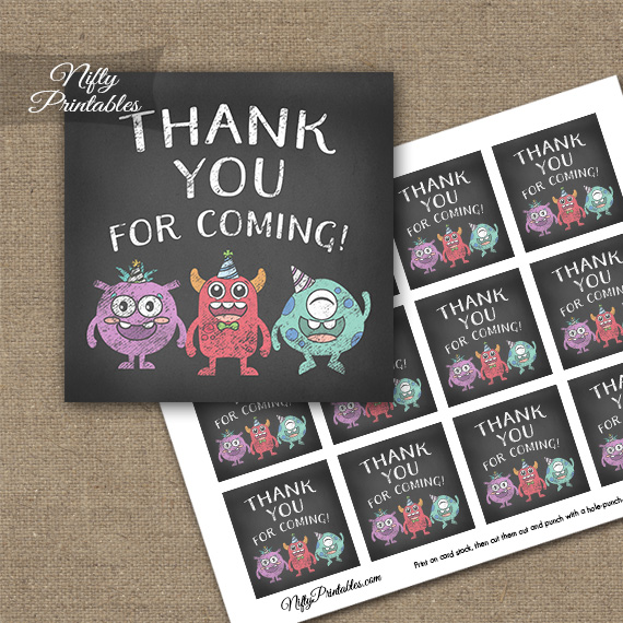Monsters Chalkboard Birthday Thank You Favor Tags