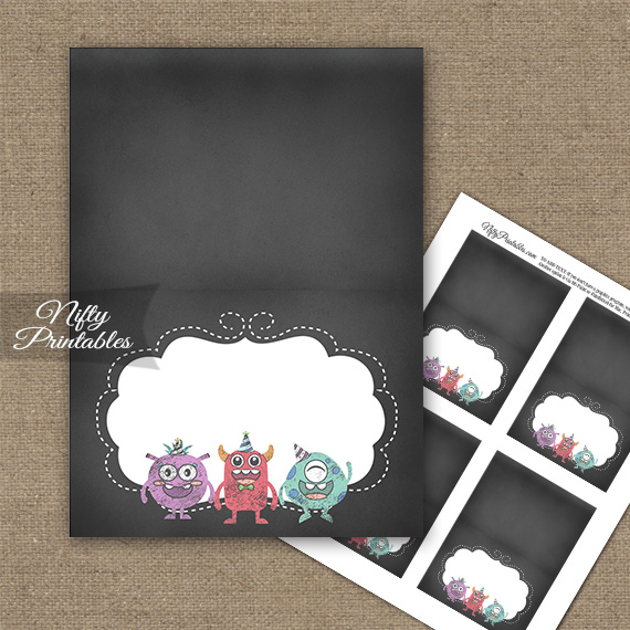 Monsters Chalkboard Birthday Folded Tent Place Cards