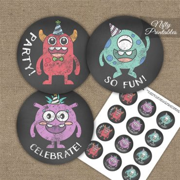 Monsters Chalkboard Birthday Cupcake Toppers