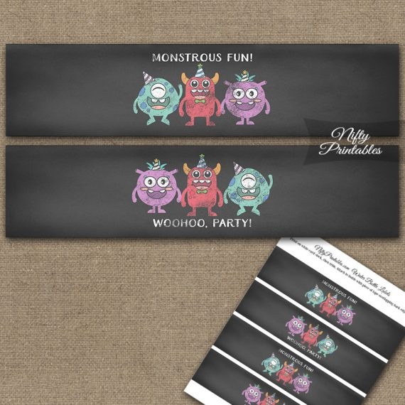Monsters Chalkboard Birthday Water Bottle Labels
