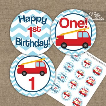 1st Birthday Toppers - Fire Truck Birthday Cupcake Toppers